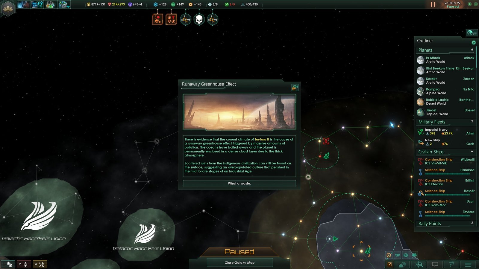 Climate change and overpopulation causing mass extinction in Stellaris
